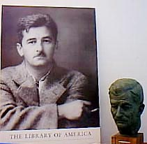Poster of Faulkner and Faulkner bust at Rowan Oak (Photo by N. Jacobs)