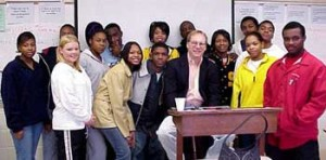 Joe Lee visits Mrs. Jacobs' classroom at Starkville High School in 2002.